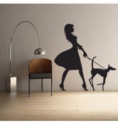 Sticker Femme avec son chien