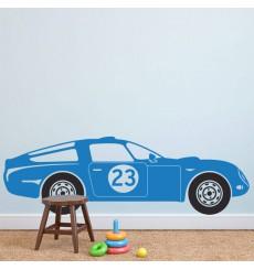 Sticker Voiture de course bleu