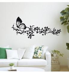 Sticker Sticker Trainée de fleurs et papillon