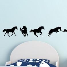 Sticker Sticker 9 silhouettes des chevaux