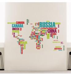 Sticker Sticker carte du monde noms de pays