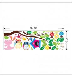 Sticker Sticker hiboux et cage oiseau sur un arbre