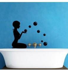 Sticker Sticker Silhouette femme avec des bulles