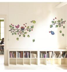 Sticker Sticker arbre, oiseaux et cœurs