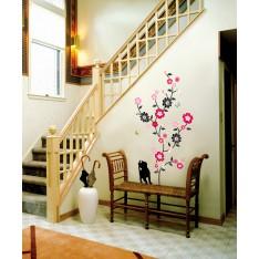 Sticker Sticker arbre en fleur, chat et papillons
