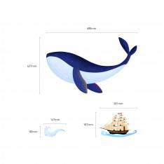 Sticker Sticker Baleine et bateau pirate