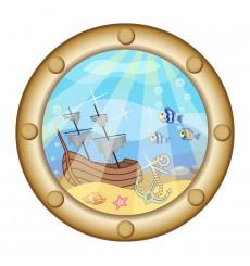 Sticker Sticker Hublot avec épave de bateau