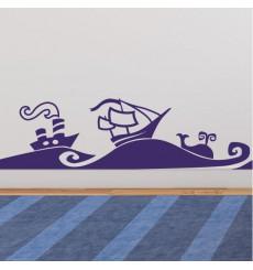 Sticker Sticker vagues de la mer et des bateaux