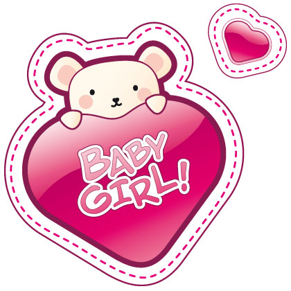 Sticker bb  bord baby girl