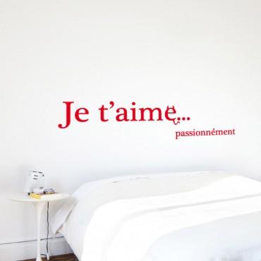 Sticker Je t'aime passionnément - stickers amour & stickers muraux - fanastick.com