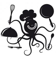 Sticker Pieuvre en cuisine
