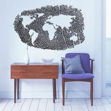 Sticker Mappemonde empreinte - stickers monde & stickers muraux - fanastick.com