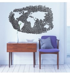 Sticker Mappemonde empreinte