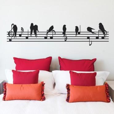 Sticker Oiseaux sur portée - stickers musique & stickers muraux - fanastick.com
