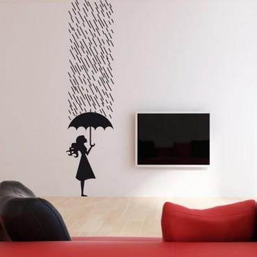 Sticker Sous la pluie - stickers personnages & stickers muraux - fanastick.com