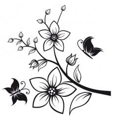 Sticker Branche fleurs papillons