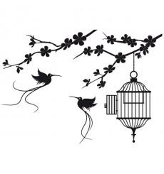 Sticker Branche oiseaux libres