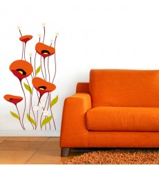 Sticker Coquelicots art déco