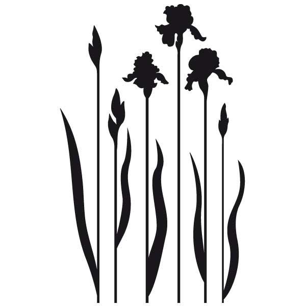 Sticker fleurs iris stickers nature stickers muraux - Pose stickers muraux ...