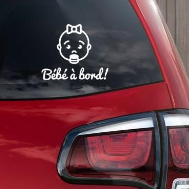 Sticker Bébé à bord visage fille - stickers bébé à bord & stickers muraux - fanastick.com