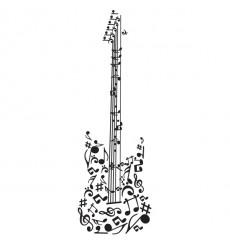 Sticker Guitare notes de musique