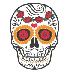 Sticker Tête de mort coloré roses