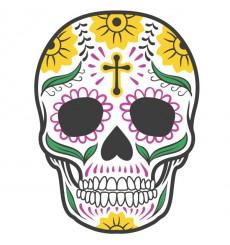 Sticker Tête de mort coloré croix