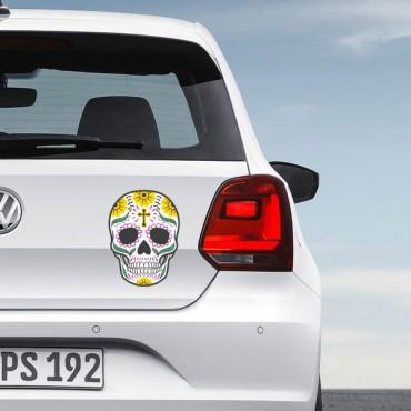 Sticker Tête de mort coloré croix - stickers tête de mort & stickers muraux - fanastick.com