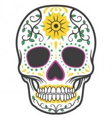 Sticker Tête de mort coloré fleur