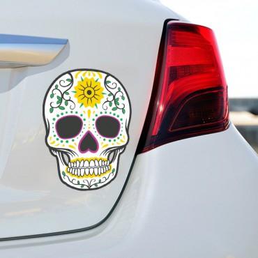 Sticker Tête de mort coloré fleur - stickers tête de mort & stickers muraux - fanastick.com