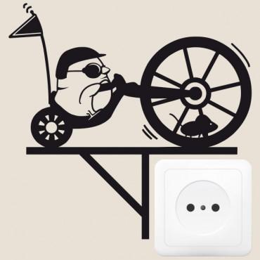 Sticker Biker avec souris dans la roue - stickers prise & stickers muraux - fanastick.com