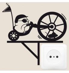 Sticker Biker avec souris dans la roue