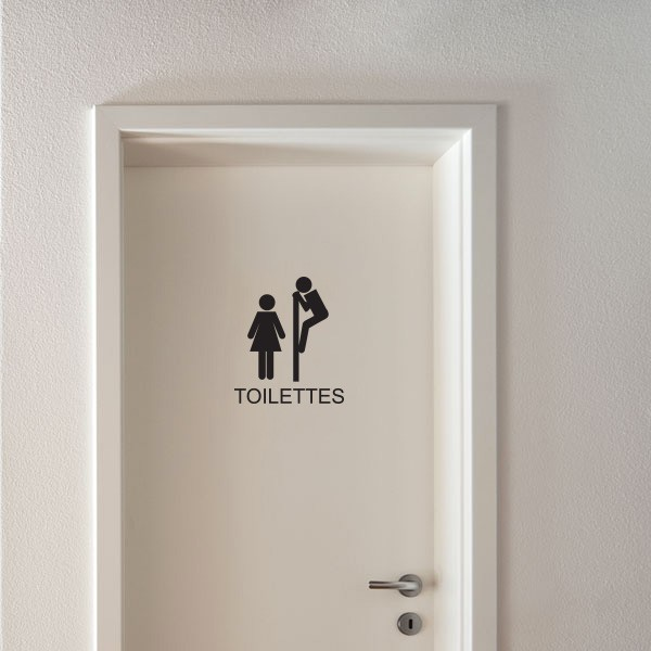 sticker wc signal tique toilettes stickers porte. Black Bedroom Furniture Sets. Home Design Ideas