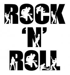 Sticker Rock and roll bicolore