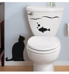 Sticker Poisson et chat