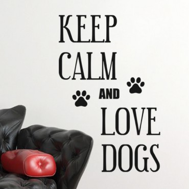Sticker Keep Calm and Love Dogs - stickers citations & stickers muraux - fanastick.com