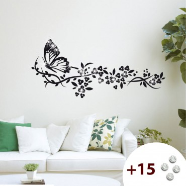Sticker Trainée de fleurs et papillon - stickers papillon & stickers muraux - fanastick.com