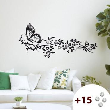 Sticker Trainée de fleurs et papillon - stickers papillon & stickers muraux - fanastick.com