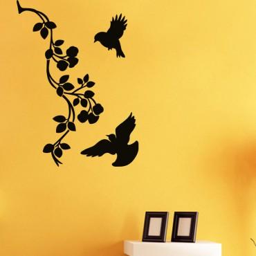 Sticker Moineaux et baroque fleur - stickers arbre & stickers muraux - fanastick.com