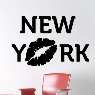Sticker New York avec baiser - stickers new york & stickers muraux - fanastick.com