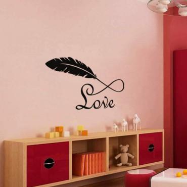 Sticker Plume et Love - stickers amour & stickers muraux - fanastick.com