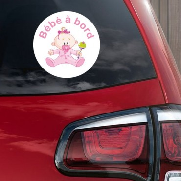 Sticker Bébé à bord fille hochet - stickers bébé à bord & stickers muraux - fanastick.com