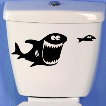 Sticker gros poisson et les petits poissons - stickers wc & stickers toilette - fanastick.com