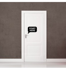 "Sticker porte ""Start Here"""