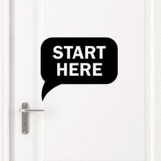 """Sticker porte """"Start Here"""""""