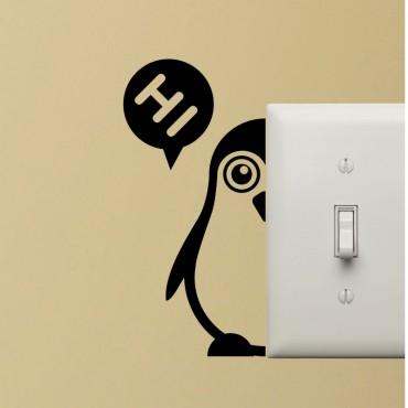 Sticker pingouin en 2 partis - stickers prise & stickers muraux - fanastick.com