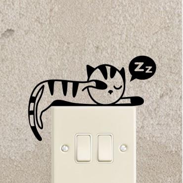 Sticker chaton qui dort étendu - stickers prise & stickers muraux - fanastick.com