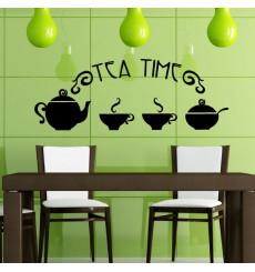 Sticker Théière et tasses