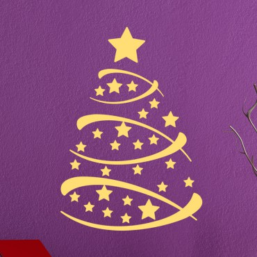 Sticker Arbre de Noël avec des étoiles - stickers noël & stickers muraux - fanastick.com