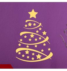 Sticker Arbre de Noël avec des étoiles